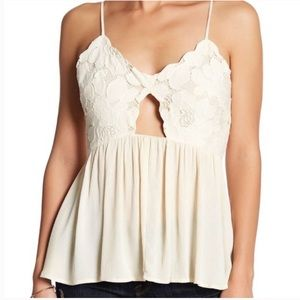 TULAROSA Bryce Embroidered Floral Key Hole Tank XS